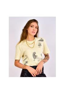 Camiseta Estampado Tigre Bege, Cor: Bege, Tamanho: Pp Bege