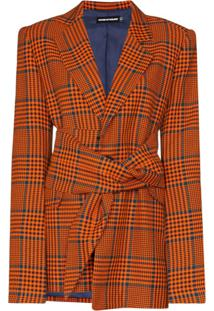 House Of Holland Blazer Xadrez Com Transpasse - Laranja