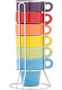 Conjunto 6 Xícaras P/Café De Porcelana Coloridas C/Suporte 60Ml