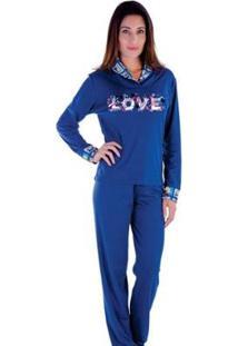 Pijama Inverno Frio Longo Peluciado Victory Feminino - Feminino-Azul Escuro