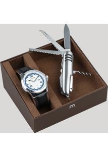 Kit De Relógio Analógico Mondaine Masculino + Canivete - 99245G0Mvnh2Kz Prateado - Único