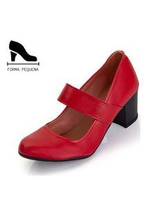 Sapato Scarpin Boneca Salto Médio Grosso Vermelho