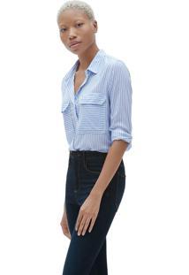 Camisa Gap Listrada Azul/Branca