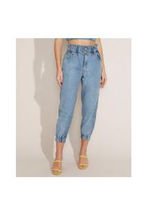 Calça Jeans Feminina Mom Jogger Cintura Super Alta Azul Claro
