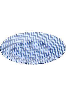 Prato Para Servir Chevron Azul Em Vidro - Dekor Cam - 33X3 Cm