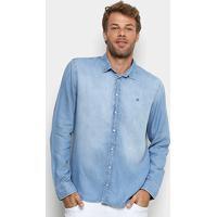 704e68ec88 Camisa Jeans Forum Manga Longa Estonada Masculina - Masculino-Azul Claro