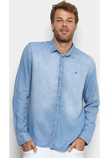 Camisa Jeans Forum Manga Longa Estonada Masculina - Masculino-Azul Claro