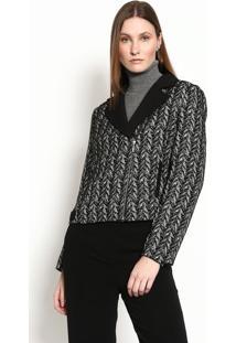 Jaqueta Com Lã Texturizada- Preta & Cinza Clarogregory