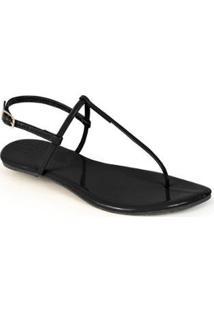 Rasteira Mercedita Shoes Verniz Lisa Feminina - Feminino-Preto