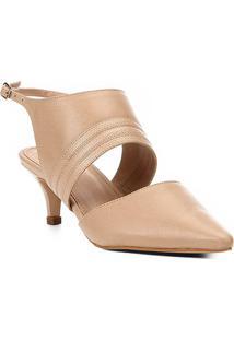 Scarpin Couro Shoestock Salto Baixo Straps - Feminino-Bege