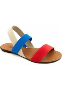 Rasteira Elástico Sapato Show Numeração Grande - Feminino-Azul+Vermelho