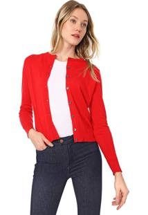 Cardigan Banana Republic Tricot Stretch-Cotton Vermelho