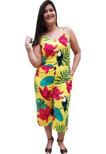 Macacão Pantacourt Linda D+ Estampado Floral Amarelo