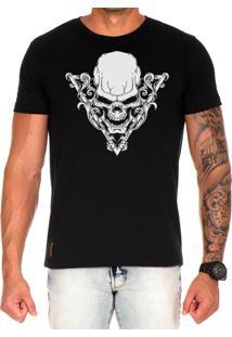 Camiseta Lucas Lunny T Shirt Estampada Caveira Triangulo Preto
