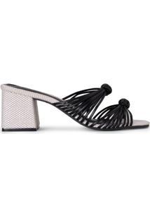 Sandália Salto Flare Tiras E Nó