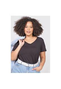 Blusa Basicamente. Plus Size Lisa Preta