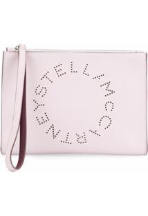 Stella Mccartney Clutch Com Logo Stell - Rosa