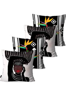 Kit Com 4 Capas Para Almofadas Pump Up Decorativas Branco Africanas 45X45Cm - Branco - Dafiti