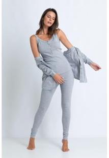 Conjunto De Pijama Acuo Com Cardigan Feminino - Feminino-Cinza