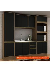 Cozinha Compacta Safira 10 Pt 3 Gv Preta E Avelã