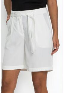 Short Alfaiataria Com Amarração Branco