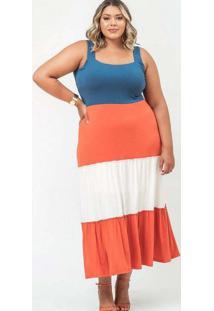 Vestido Almaria Plus Size Garage Camadas Bicolor A