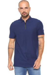 Camisa Polo Calvin Klein Slim Com Zíper Azul