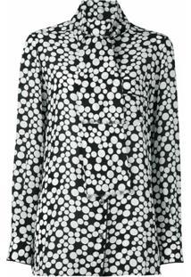 Dolce & Gabbana Blusa De Seda Com Poás - Preto