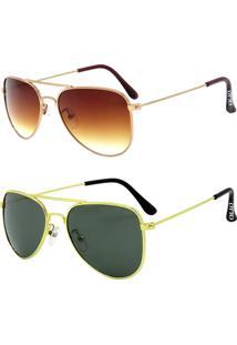 Kit De 2 Óculos De Sol Clássicos Otto Em Metal Monel® Aviador Rosê / Dourado - Tricae