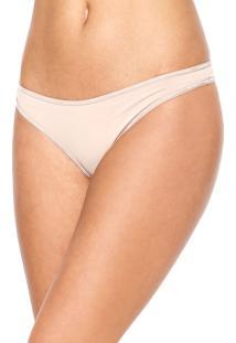 Calcinha Calvin Klein Underwear Fio Dental Básica Bege