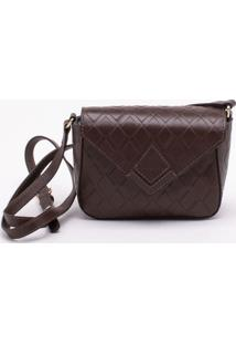 Bolsa Shoulder Bag Couro Diamond Marrom - P