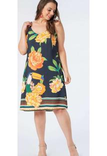 Vestido Almaria Plus Size Munny Curto Estampado Az