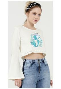 Blusa Feminina Cropped Estampa Pequena Sereia Disney