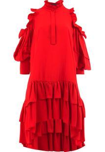 Alexander Mcqueen Vestido Com Recortes Vazados - Vermelho