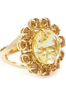 Anel Banho De Ouro Formato De Flor Cristal - Feminino-Amarelo