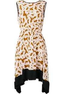 49f53d88a Dvf Diane Von Furstenberg Vestido De Seda Com Estampa De Correntes - Marrom
