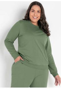 Casaco Verde Plus Size Com Decote Redondo