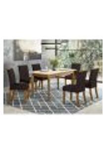 Mesa De Jantar Ghala 160Cm 6 Cadeiras Vita - Nature/Off White/Marrom