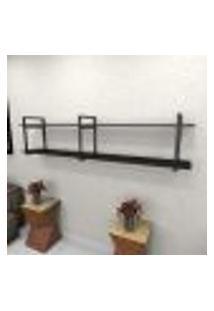 Estante Estilo Industrial Sala Aço Cor Preto 180X30X40Cm (C)X(L)X(A) Cor Mdf Preto Modelo Ind39Psl