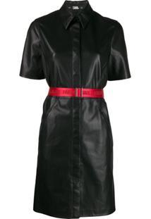 Karl Lagerfeld Faux Leather Shirt Dress - Preto