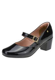 Sandalia Scarpin Bonequinha Salto Quadrado Veniz Preto Feminino Sapato Joys