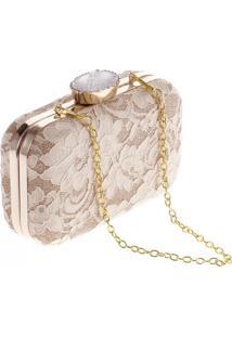 Bolsa Clutch Liage Alça Removível Tecido Renda Metal Strass Cristal Pedra Dourada - Kanui