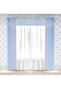 Cortina Quarto Bebê Menino Azul Poá 2,30M Grão De Gente Azul