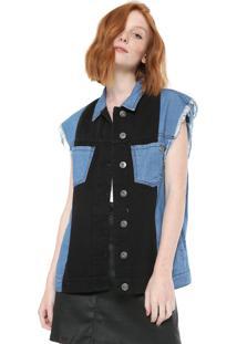 Colete Jeans Triton Recortes Azul