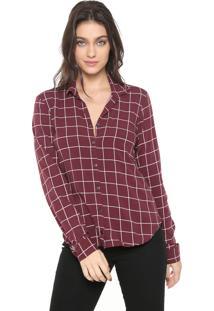 Camisa Gris Quadriculada Vinho/Rosa
