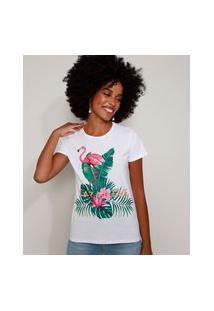 "Blusa Feminina Flamingo Paradise"" Manga Curta Decote Redondo Branca"""