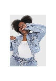 Jaqueta Jeans Forever 21 Plus Destroyed Azul