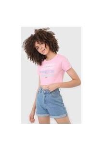 Camiseta Cropped Tricats Self Love Rosa