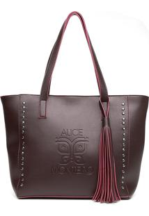 Bolsa Alice Monteiro Sacola Com Metais Grande Franja Purpura