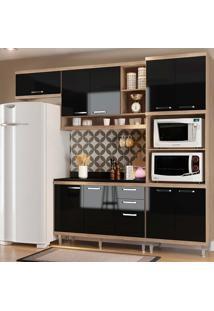 Cozinha Compacta 5 Peças Com Tampo 5829-S14T - Sicília - Multimóveis - Argila / Preto